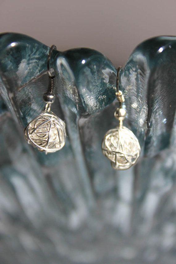 Silver cocoon earring