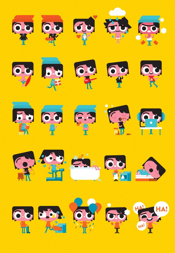"""""""Wide Eyes"""" sticker set i made for Facebook Messenger is now available"""