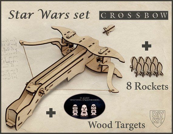 Gamer Boyfriend Gift. Crossbow DIY Kit With Star Wars Targets. Gift For Him, Geek Husband Gift. DIY