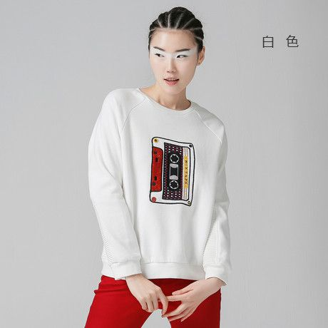 Toyouth New Arrival Women Funny Cotton Pullovers Sweatshirts Autumn Magnetic Tape Embroidered O-Neck Sweatshirts