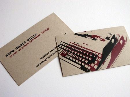 business card writing