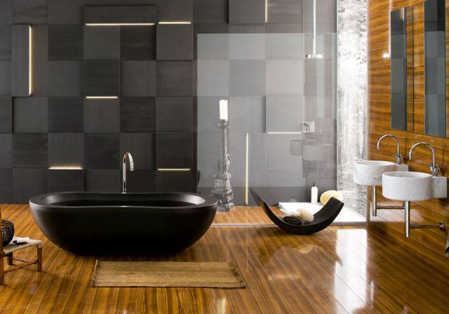 18 Exquisite zeitgenössische Badezimmerdesignideen aus Holz zeitgenossische exquisite badezimmerdesignideen