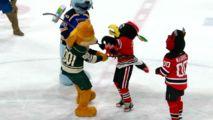 Minnesota Wild Apologize After 'Violent' Mascot Skit - http://www.nbcchicago.com/news/local/nhl-minnesota-wild-nordy-mascot-beating-blackhawks-tommy-hawk-410726565.html