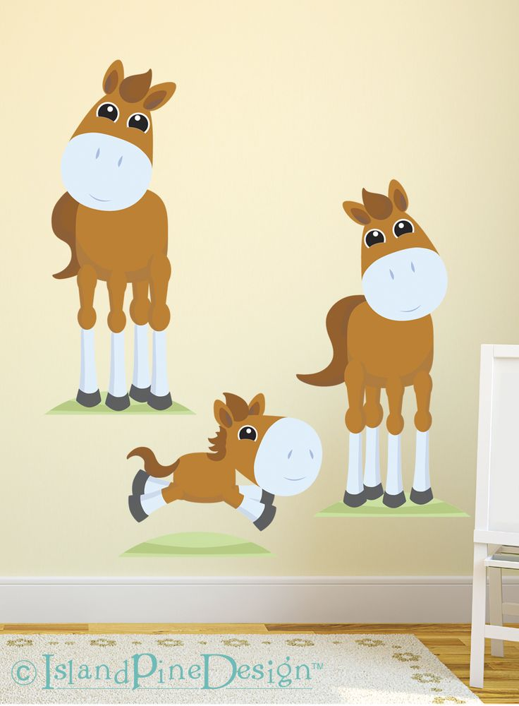 Horse Family | Non-toxic Posable Wall Art Decal Sticker Kit by Mixable Murals.  www.mixablemurals.com
