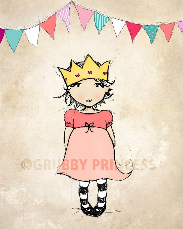 Princess, kids wall art, little girls room decor, baby girl nursery, 8x10 art print. $25.00, via Etsy.