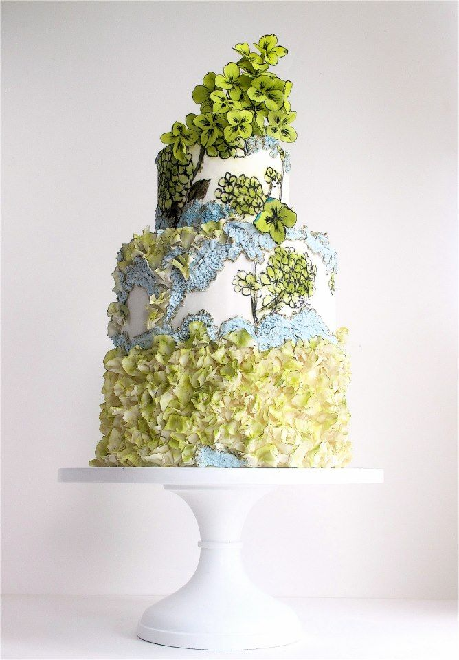 Baby Blue  Chartreuse Hand-painted Floral Wedding Cake