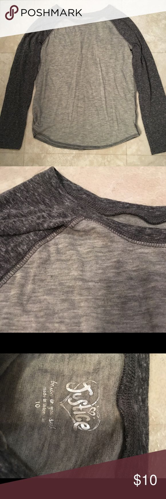 Girls Justice long sleeve T-Shirt Girls Justice shirt, charcoal gray color very soft material. Used but very little. No picks, tears, or stains. Great condition! Justice Shirts & Tops Tees - Long Sleeve