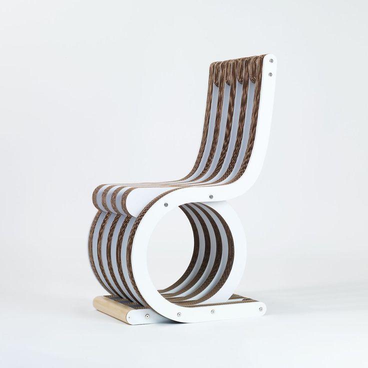 Sedia In Cartone Twist Chair Laccato Bianco Di Lessmore Design Giorgio Caporaso