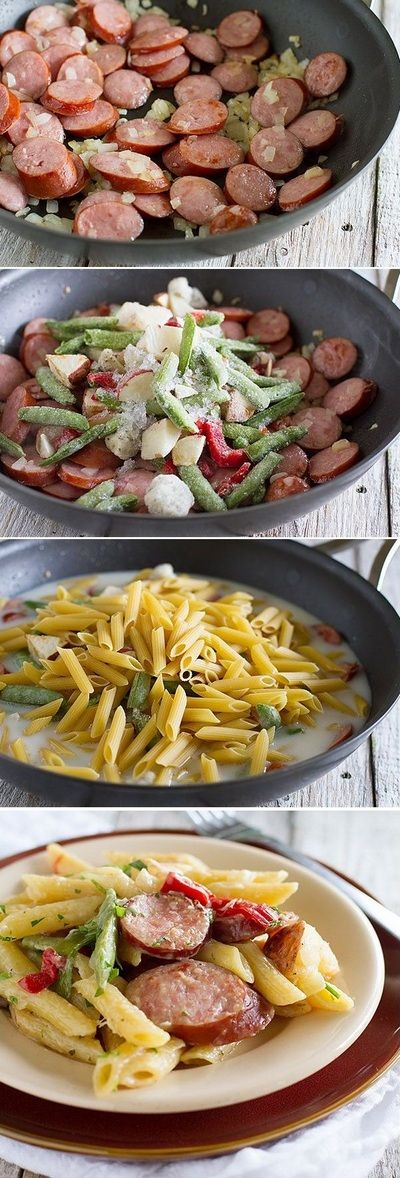 Skillet Pasta with Sausage – this one pan meal is ready in no time at all and your family will love it!