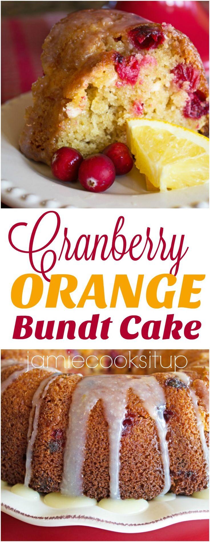 Cranberry Orange Bundt Cake from Jamie Cooks It Up!