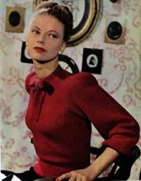 The Vintage Pattern Files: 1940s Knitting - Tie-Neck Jumper