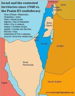 Map of Israel based on Psalm 83. The Psalms 83 war has yet to happen, every country mentioned borders Israel today