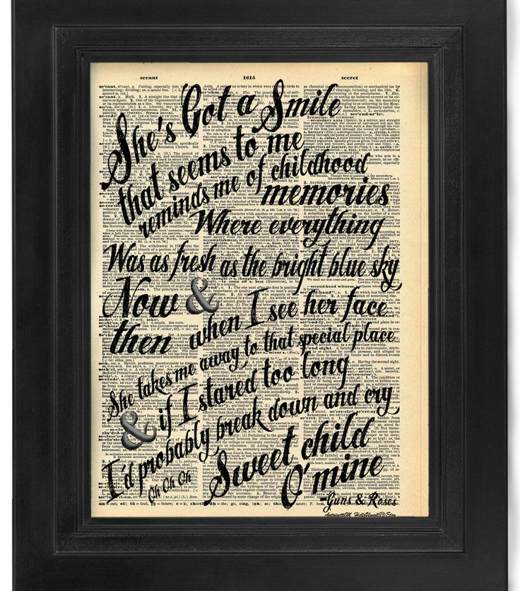 Guns and Roses Sweet Child O Mine lyric Calligraphy on Antique Dictionary Page art print Wall Decor Wall Art Mixed Media Collage