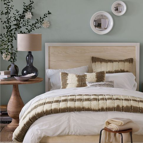 A great idea for my headboard - plywood + crown molding + paint!!!