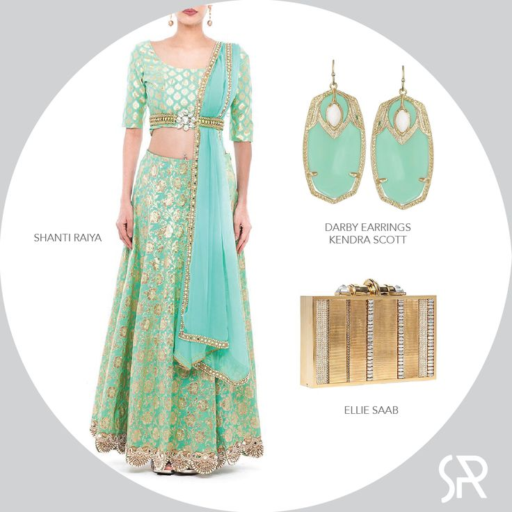 The ultimate #colourcrush for this week! Lehnga by Shanti Raiya paired with Airy Mint Green earrings by Kendra Scott; Finishing with an elegant Ellie Saab Gold Clutch. Visit us at : www.shanti-raiya.com