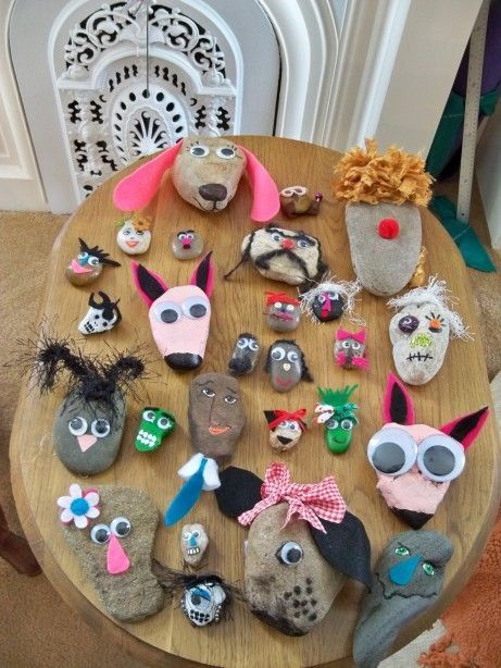798 best making art with children images on pinterest for Crafts made from rocks