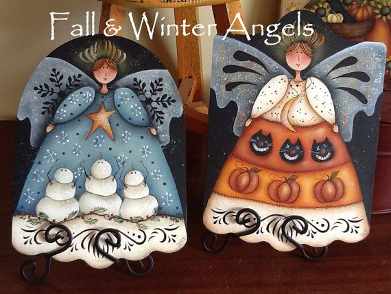 EPattern  Fall and Winter Angels w/ bonus Think by PaintingwithDeb, $5.00