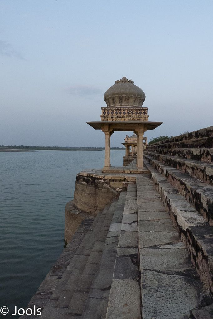 The dam wall at Sardargarh. Many palaces in Rajasthan were built by man-made lakes that catch the monsoons.