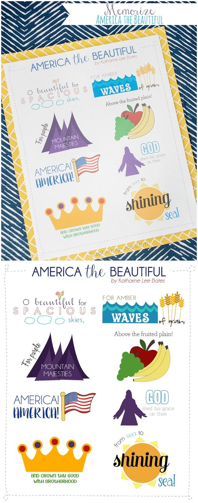 July 4th song America the Beautiful memorize a patriotic song with the family.