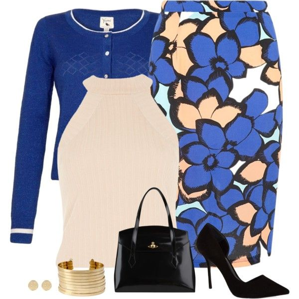 blue skirt look by divacrafts on Polyvore featuring River Island, Yumi, KG Kurt Geiger, Vivienne Westwood, Kenneth Cole and Original