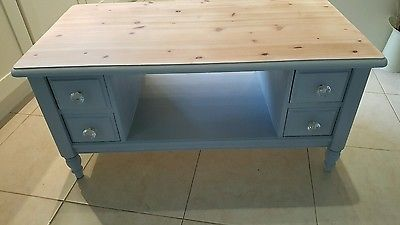 shabby chic large grey 4 drawer coffee table tv media unit