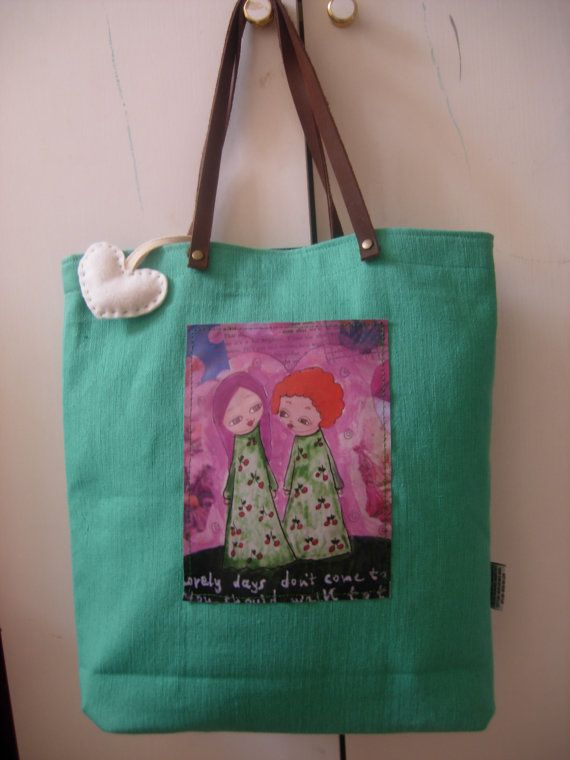 Lovely Days  art bag in sea foam/light tyrchoise and a by eltsamp, $58.00