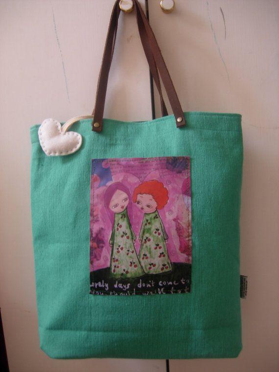 Lovely Days  art bag in sea foam/light tyrchoise and a by eltsamp, $58.00