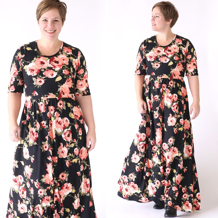 Learn how to sew a gorgeous floral maxi dress using a free tee shirt pattern with this easy to follow sewing tutorial. How to make a maxi dress.