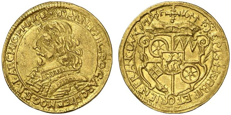 AV Ducat. Germany Coins, Mainz. Archbishopric, Johann Philipp von Schonborn 1647-1673. 1655. F 1656. Good VF. Price realized 2011: 1.000 USD.