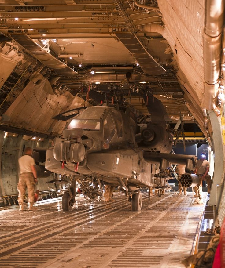 Apache Helicopter being transported inside of a C-5 Galaxy Cargo Jet.