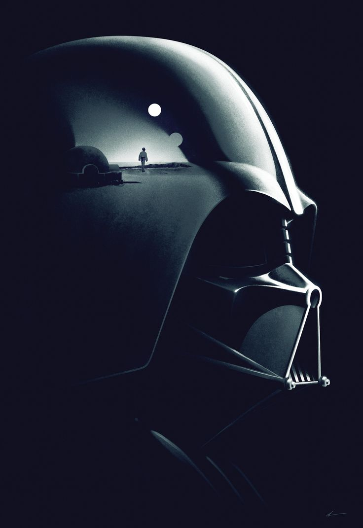 """This marks the world premiere of """"Legacy,"""" one of four new works commissioned for the 'Star Wars Art: A Poster Collection.' Designed in 2014 by the Phantom City studio, father and son collide as Vader's helmet reflects the classic 'A New Hope' image of Luke watching Tatooine's twin suns set."""