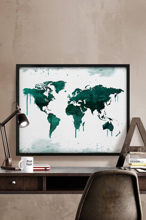 World map print large watercolor map travel map by iPrintPoster