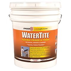 Zinsser® WATERTITE® Flexible Primer & Finish. Keep water out even amidst weather fluctuations. One coat primes; two coats prime & finish. Use on new & existing exterior concrete & masonry including stucco, brick, tilt-up & more! Designed with elastomeric qualities, but much easier to use. Expands & contracts to fill hairline cracks. Moisture & mildew resistant. Backed by 10-year Durability Guarantee. Low-VOC, latex formula - tintable to off-white & mid-tones. Apply 2 coats for full…