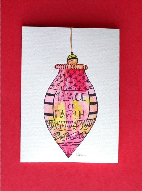 Watercolor card, ( No.221), Christmas ornament, greeting card, Christmas, ornament, holiday, original art,blank inside