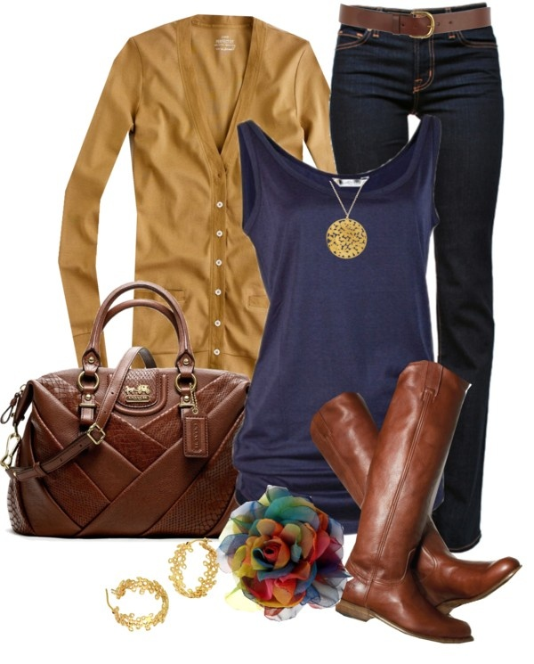 Mustard and navy for fall. Gorgeous leather bag and perfect riding boots. So fab!