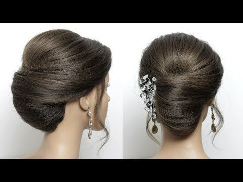 Hairstyle: French Roll. Quick Updo For Medium Long Length Hair - YouTube