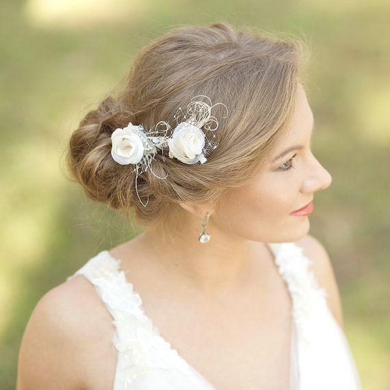 Burlap wedding hair flowers Small Hair flower Flower di LeFlowers