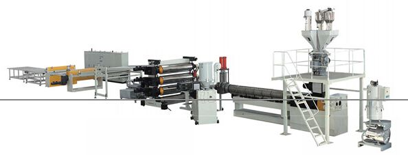 #ABS、HIPS Single、Multi-layer Plate Extrusion Line  has wide application in production of refrigerator door and inner gallbladder, drawers, water dispensers, etc. It is widely applied in the field of bath products,  It is mainly applied in field of draw-bar boxes, luggage cases used in to produce tops of cars and buses, instrument boards, backrest, car doors, window frames