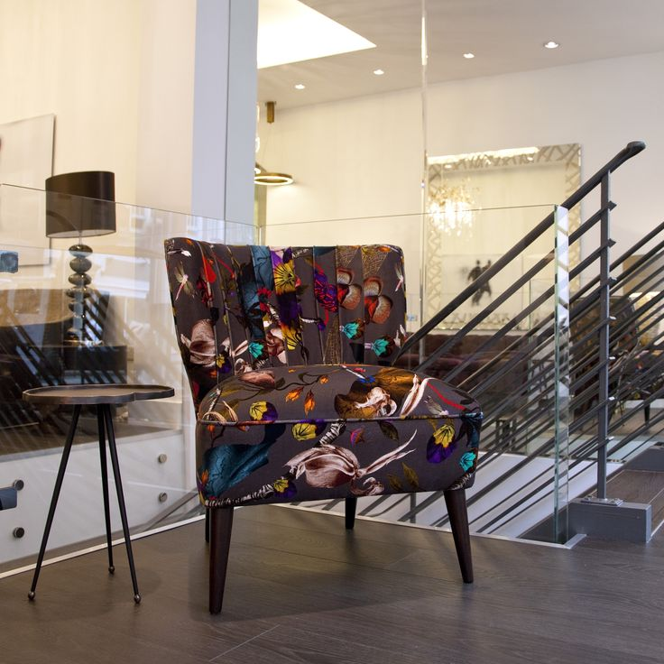 Kit Miles fabric used on pretty chair in our Great Portland Street showroom.