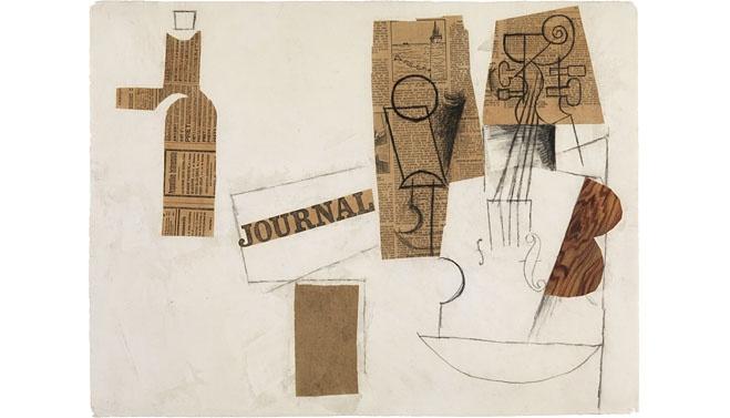 Moderna Museet, Stockholm. Butelj, glas och fiol, Pablo Picasso, 1912–1913