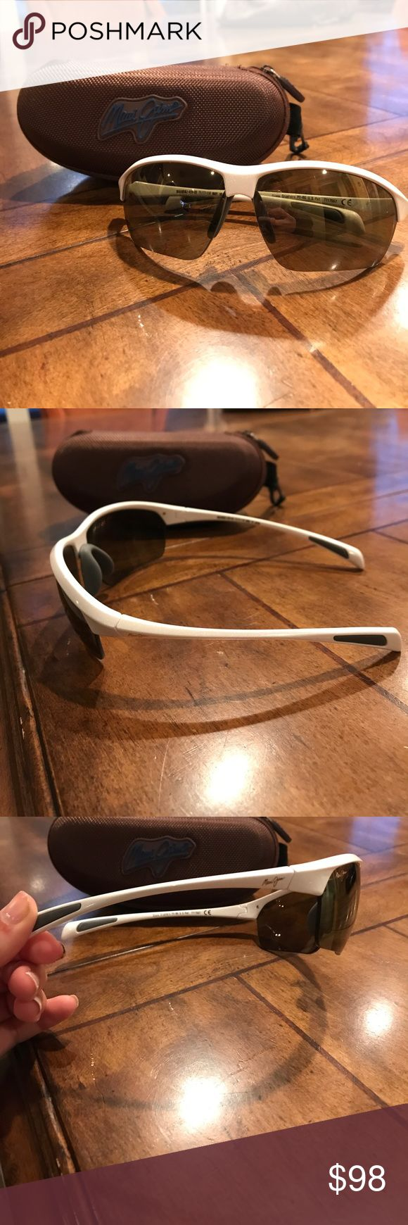 Maui Jim Stone Crusher white sport Sunglasses Hardly touched Maui Jim sunglasses. They retail for 199! Very similar style to Oakleys with no visible signs of scratching or marks on the glasses. They come with a case and cloth to clean them with. Super durable and perfect for summer! Maui Jim Accessories Sunglasses