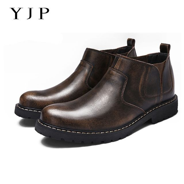 We love it and we know you also love it as well YJP Men Patent Leather Chelsea Boots, Black/Brown Vintage Sewing Casual Shoe, Elastic-band Pointed Toe Boot, Business Ankle Boot just only $40.77 with free shipping worldwide  #menshoes Plese click on picture to see our special price for you
