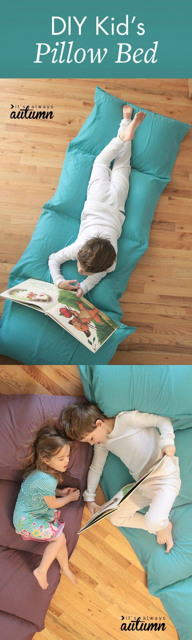 Ideal for reading, movie watching, and snuggling, this DIY Kid's Pillow Bed, from It's Always Autumn, is a fantastic homemade gift idea to make your kids smile. Let's be real—even adults would love this!