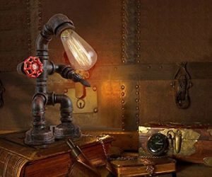 Rust Iron Robot Plumbing Pipe Desk Lamp - Add a little whimsy and character to your desk's dull landscape by switching on this rust iron robot plumbing pipe desk lamp. This cute little lamp stands at just over a foot tall and works with LED, CFL, and incandescent bulbs.