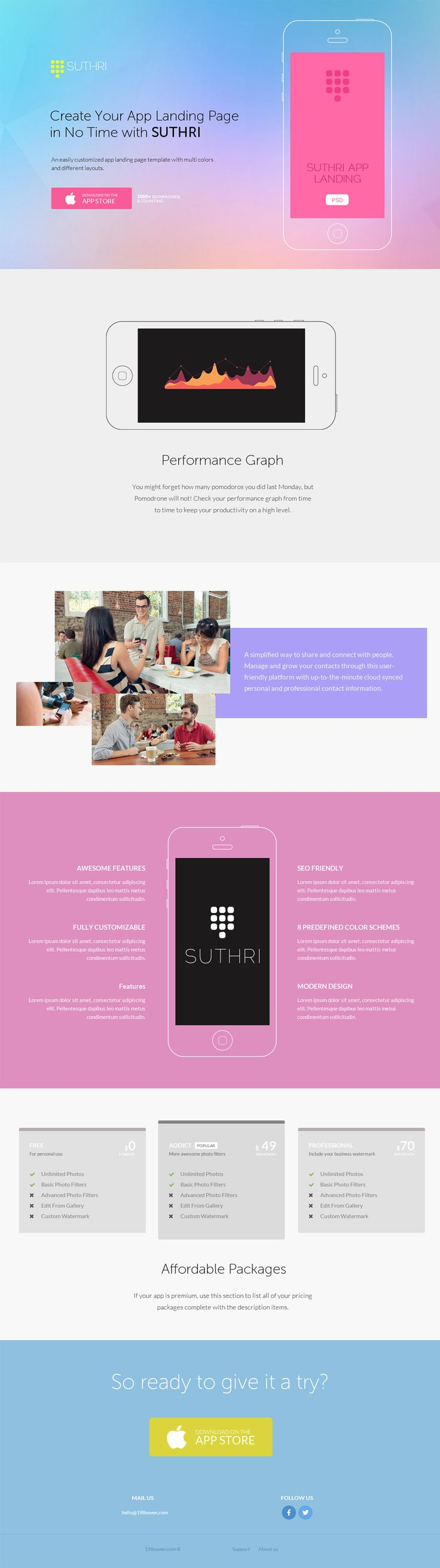 Suthri App Landing Page PSD