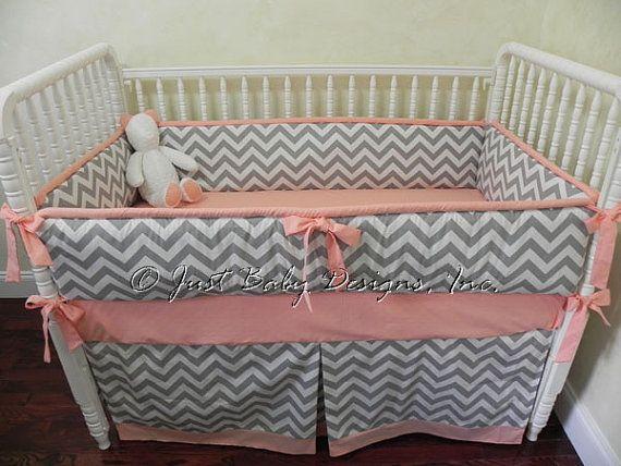 Custom Baby Bedding Set Gray Chevron Solid by BabyBeddingbyJBD, $288.00