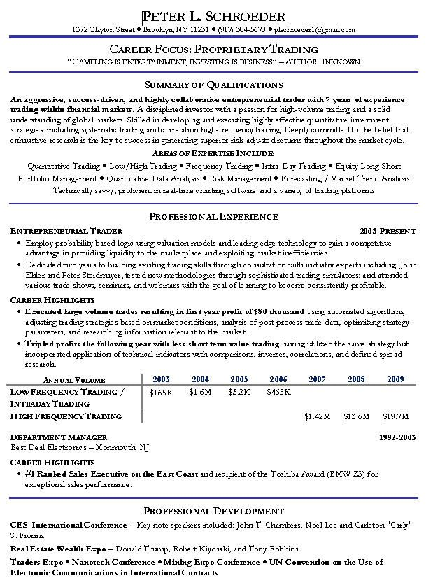 proprietary trading resume example