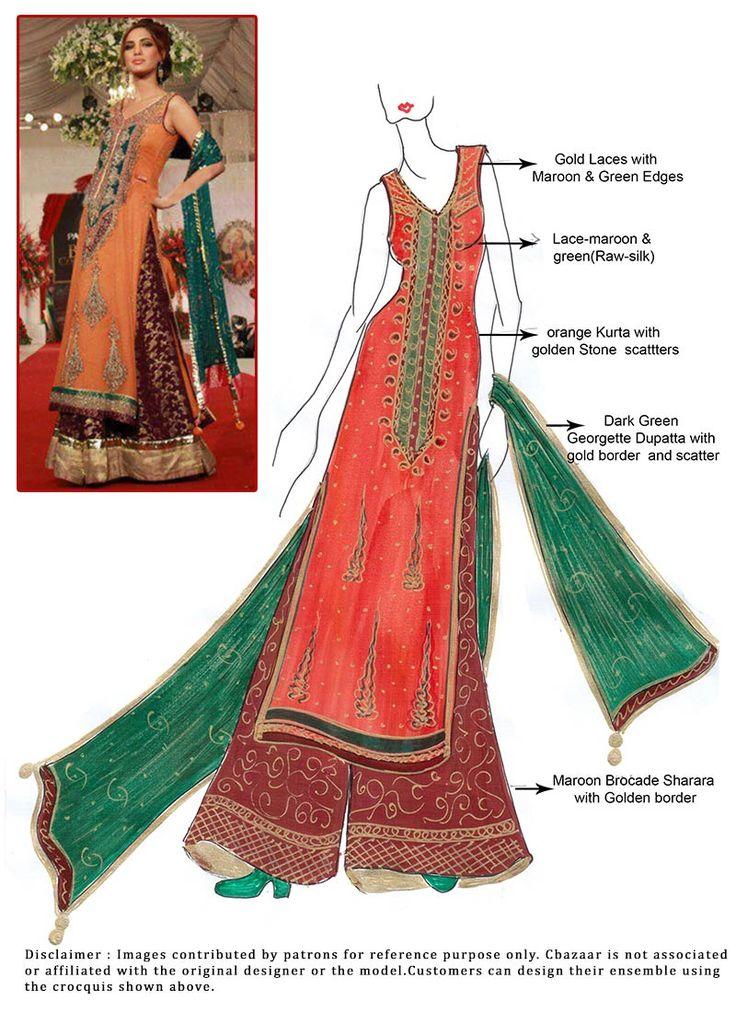 DIY Orange Georgette Sharara Suit.