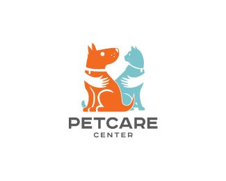Ik vind het leuk hoe ze de hond en de kat vasthouden. Het is mooi dat ze twee kleuren hebben gebruikt, zo valt het logo ook meer op.