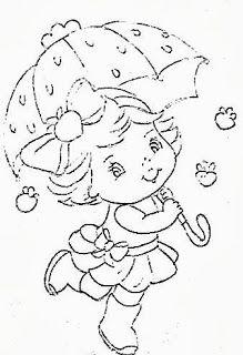 desenho da moranguinho com guarda chuva para pintar